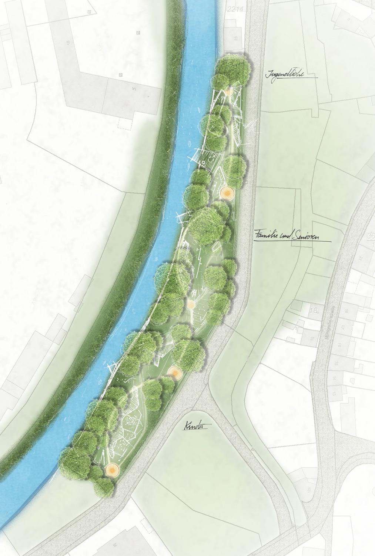 Übersicht vom Entwurf der AG Landschaftsarchitekten eines Mehrgenerationenparcours in Glauchau