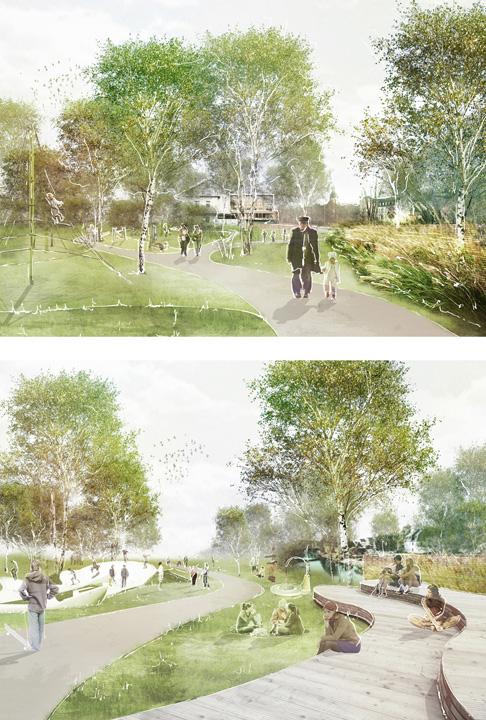 Visualisierung 01 Entwurf der AG Landschaftsarchitekten eines Mehrgenerationenparcours in Glauchau