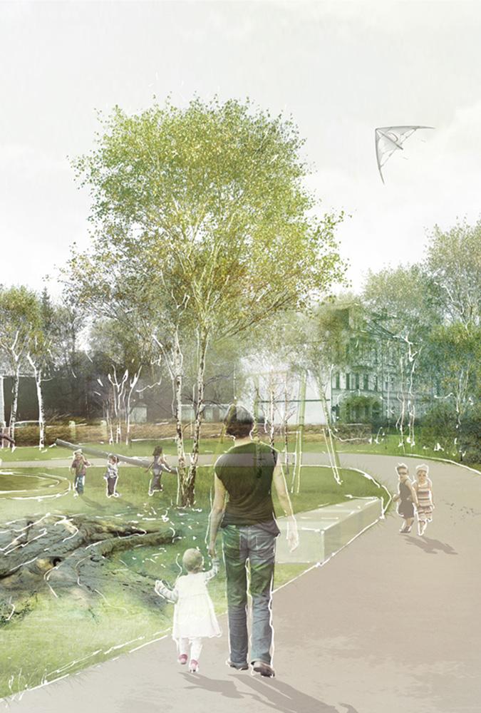 Visualisierung 02 Entwurf der AG Landschaftsarchitekten eines Mehrgenerationenparcours in Glauchau