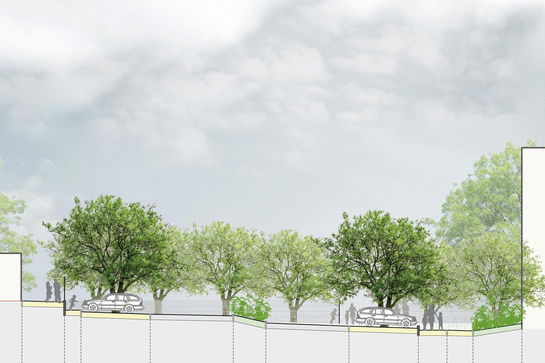 Schnitt 02 Entwurf Freifläche Hort für die Stadt Oschatz