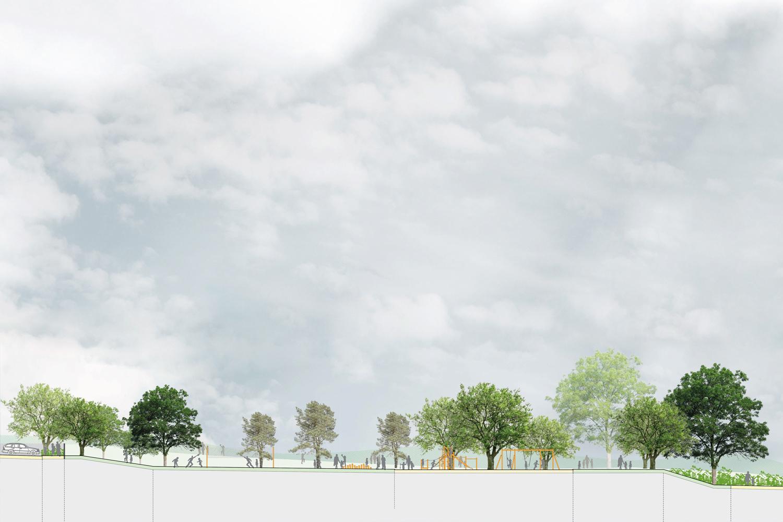 Schnitt 01 Entwurf Freifläche Hort für die Stadt Oschatz