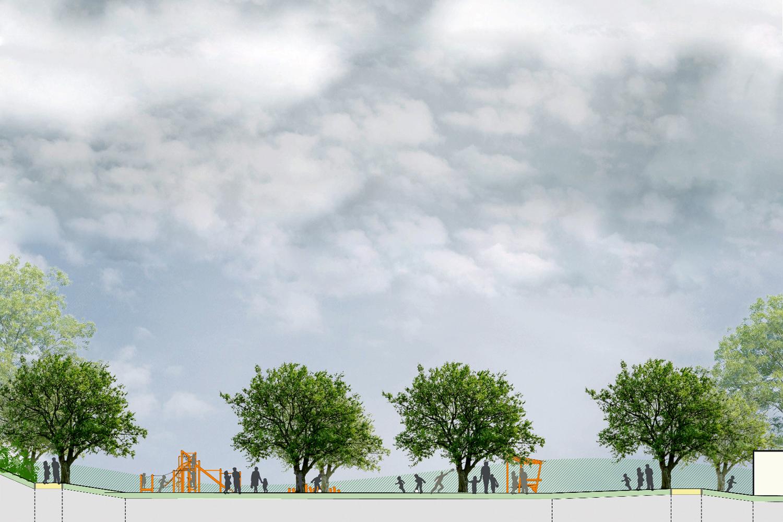 Schnitt 03 Entwurf Freifläche Hort für die Stadt Oschatz