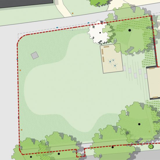 Plan der Arbeitsgruppe Landschaftsarchitekten Freifläche der Stadthalle Oelsnitz