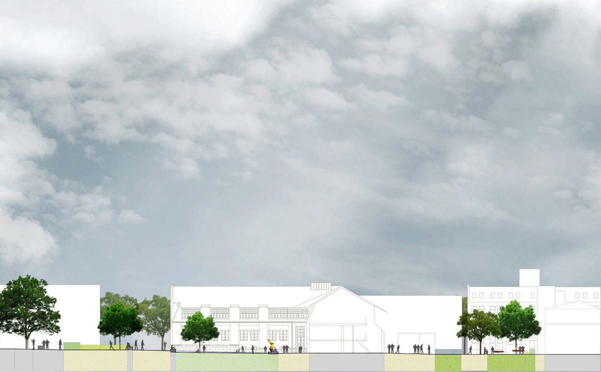 Schnitt Entwurf der Außenanlagen für die Bauhaus-Uni Weimar
