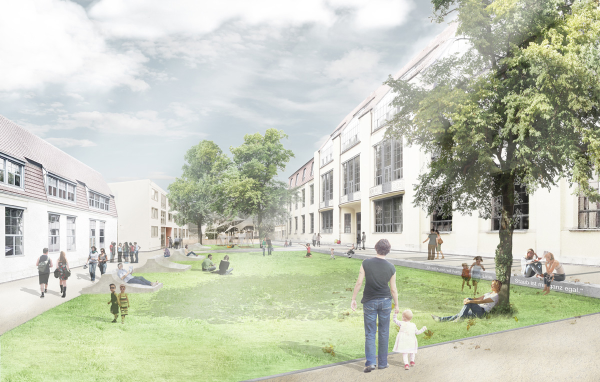 Visualisierung der Entwürfe für die Außenanlagen der Bauhaus-Uni Weimar der Arbeitsgruppe Landschaftsarchitekten